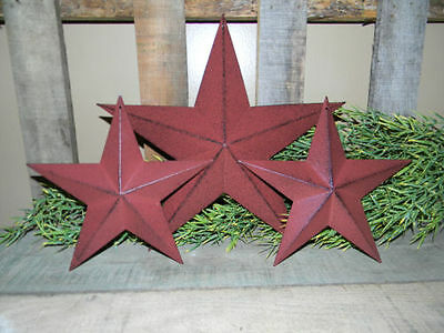 "Set of 3  12"" 8"" BURGUNDY BLACK BARN STARS Metal Tin  Primitive Country"