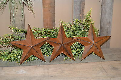 "Set of 3 8"" RUSTY BLACK BARN STARS Metal Tin  Primitive Country Rust"