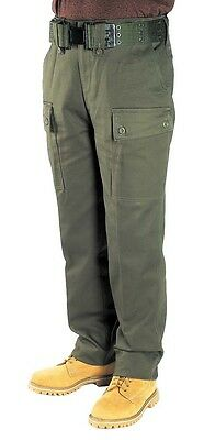 Cargo Army Combat Pants Kids Trousers Childrens Heavy Duty Cotton Olive Green