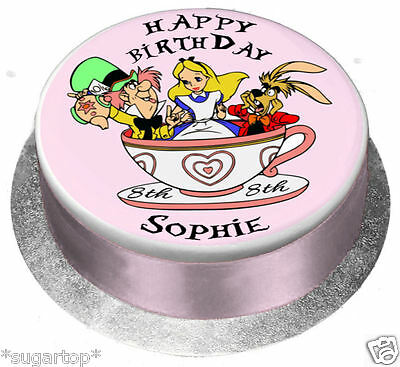 EDIBLE ICING / WAFER Personalised Cake Topper ALICE IN WONDERLAND All Ages