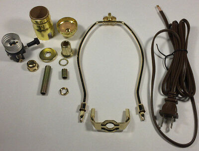 "Table Lamp Wiring Kit With 6"" Brass Plated Harp, 3 Way Socket, 8 ft. Brown Cord"