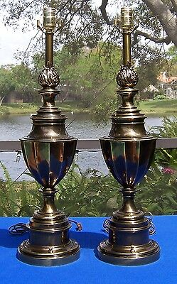 "Pair of 26"" Stiffel Mid Century Trophy/Eternal Flame/Urn Neo-classical Brass Lam"