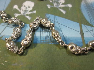 Pirate skulls necklace chain in full sterling silver 925 - artisan-produced