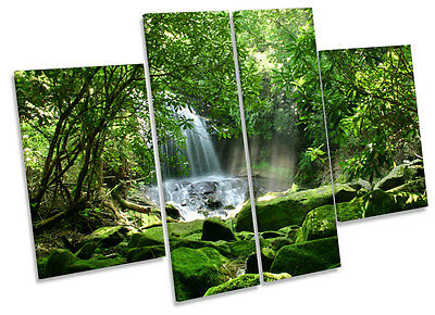 Rain Forest Waterfall Sunrise CANVAS WALL ART MULTI Panel Print Box Frame