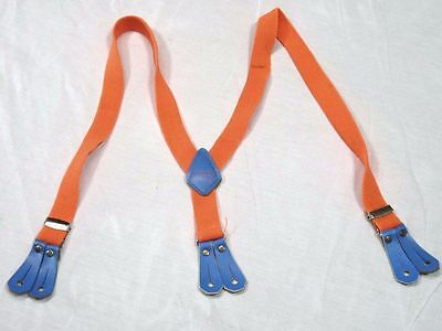Vtg 80s LEVIS Suspenders Belt Child's Youth Size Neon Orange Denim Jeans Promo