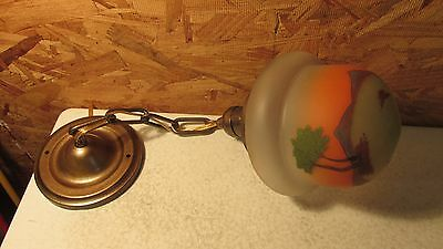 Antique Pendant Light Fixture & Scenic Globe  No. 1