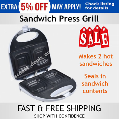Sandwich Press Grill Toaster Maker Non Stick Deep Dish Lockable Lid Toasted Roll