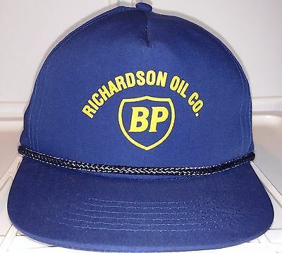 RICHARDSON OIL CO. BP Oil Gas Dark Blue Snap Back TRUCKERS Hat Cotton Polyester