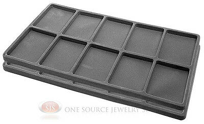 2 Gray Insert Tray Liners W/ 10 Compartments Drawer Organizer Jewelry Displays