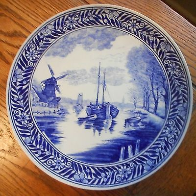 "Vintage 11 3/8"" Charger-DUTCH CANAL WINDMILL BOATS-Boch Fr Delft Holland"