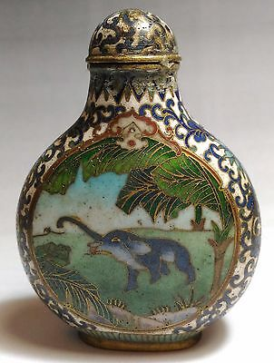 Antique 19th Chinese Cloisonne Snuff Bottle