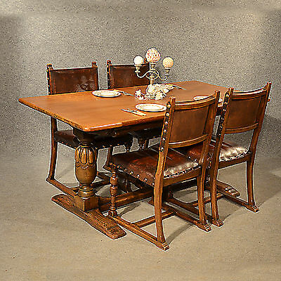 Antique Kitchen or Dining Table English Oak Refectory Edwardian 6 Seater c1910