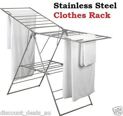 Clothes Drying Rack Airer Clothing Hanger Stainless Steel Rust Resistant Rail
