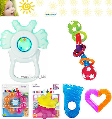 Munchkin Gel Ice Teether Ring Baby Teething Teether Vibrating Bite Activated