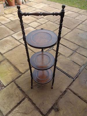 Oak 3 Tiered Folding Cake Stand - Bobbin Legged