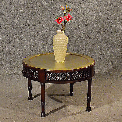 Antique Coffee Tea Table Berber Benares Tray Brass Top Lamp Side Edwardian c1910