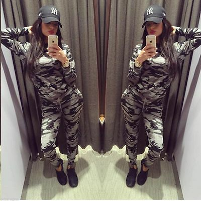 Ladies Black&grey Camouflage Stretchy Jogging Tracksuit Lounge Wear Set 8 - 26