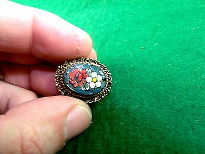 Mid Century Micro Glass Mosaic Ring Gold Toned Metal Good Wearable Mod