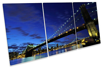 Brooklyn Bridge New York Night Canvas Wall A2 A1 A0 Large Gift Present OC0204