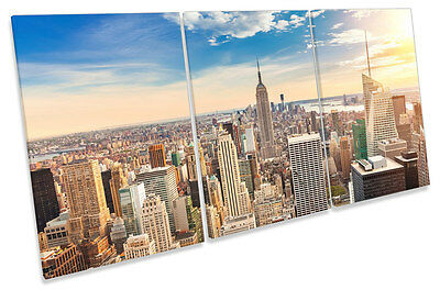 New York City Skyline Modern TREBLE CANVAS WALL ART Print Picture