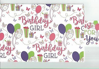 Birthday Girl Wrapping Paper 2 Sheets 1 Tag 50 X 70 Cm