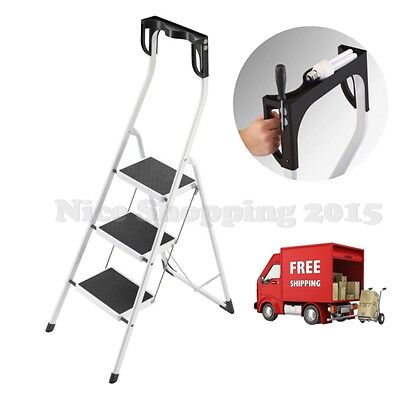 Safety 3 Step Stool Ladders Folding Handling Home Office Improvement Repair Tool