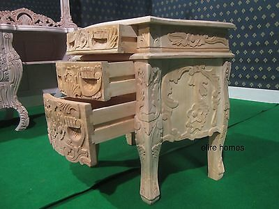 1 x Natural French Baroque carved mahogany Rococo Bedside table / Nightstand