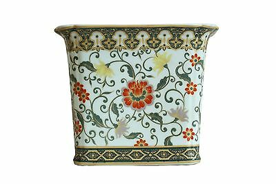 Beautiful Rectangular Porcelain Floral Pattern Flower Pot 8""
