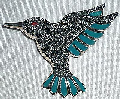 BEAUTIFUL SILVER MARCASITE HUMMINGBIRD  HUMMING BIRD BLUE ENAMEL BROOCH 4.5cm