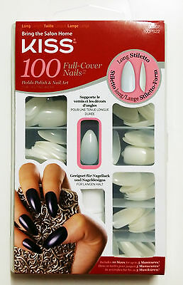 Kiss Long Stiletto 100 Full Cover Nails #66007 100Ps22 Glue On Tips