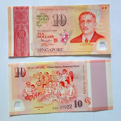 NEW UNC Singapore 10 Ten Dollars Polymer Note SG50 Commemorative Vibrant Nation