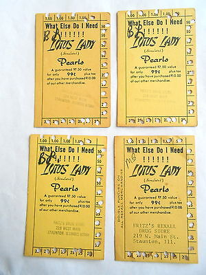 4 Vintage Fritz's Drug Store Stauton IL Lotus Lady Pearls Advertising Punch Card