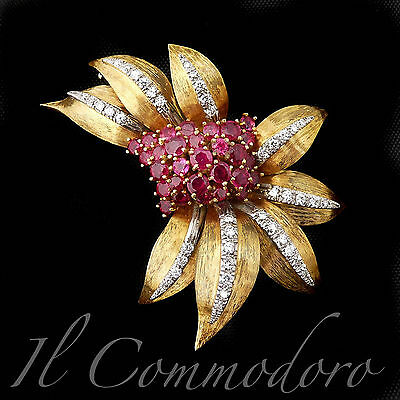 Vintage 1950s 18K yellow Gold Brooch 44 natural Diamonds and Rubies - PS365CI