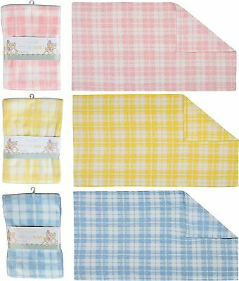 Check Baby Fleece Blanket Super Soft 60x90cm Baby Cot Bed Moses Pram Basket New