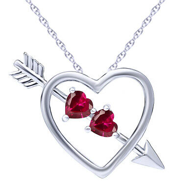 Heart Shape Red Created Ruby 925 Sterling Silver Heart and Arrow Pendant 1.20 Ct