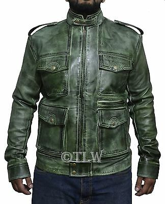 (REAL LEATHER) Antique Green Rider Jacket Superman Lantern Dead Club , All Sizes