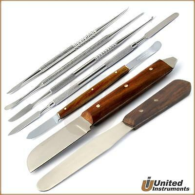 Set Of 7 Dental Fahen Knife Zahle, Beale, Lecron Carvers Cement Spatula Lab Kit