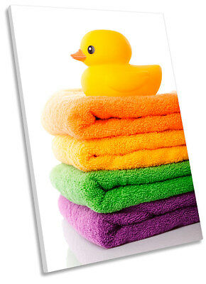 Bathroom Towels Rubber Duck Picture SINGLE CANVAS WALL ART Print