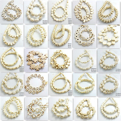 White Turquoise Gemstone Spacer Loose Beads Charm Findings 15'' Strand DIY