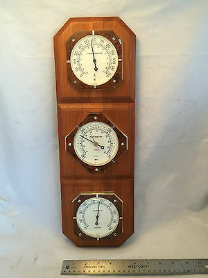 Weather Station Mounted Oak Plaque Thermometer Barometer Humidity Sunbeam USA