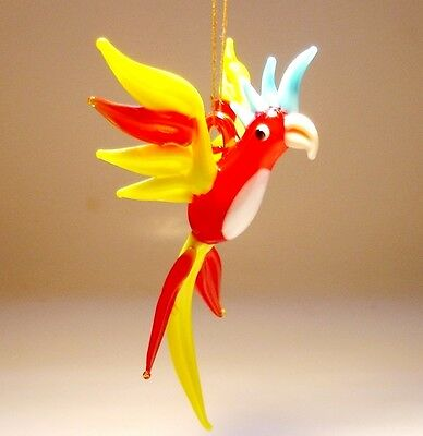 Blown Glass Figurine Bird Hanging Red and Yellow PARROT Macaw Ornament