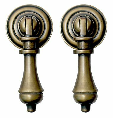Solid Brass Cudgel Tear Drop Drawer Door Pull Handle Set of 2