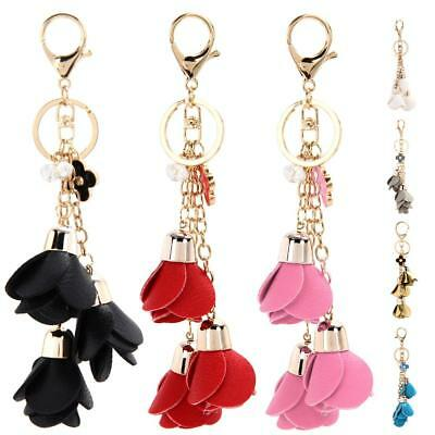 Fashion Leather Flowers Cell Phone Car Keychain Pendant Handbag Charm Key Ring