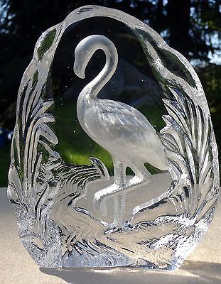 Glass Crystal Flamingo Sculpture Carved Frosted Silhouette