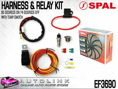Spal Harness & Relay Kit With Temp Switch (85 Deg On/74 Deg Off) Suits Spal Fans