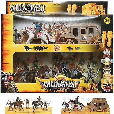 Wild West Cowboy Western Figurine Set Wagon Horse Toy Great For School Projects