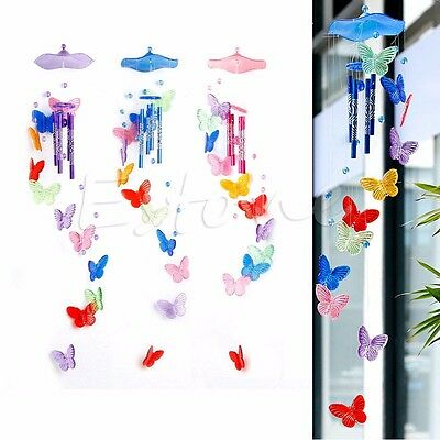 Butterfly 4 Tubes Wind Chime Bell Home Ornament Church Hanging Garden Yard Decor