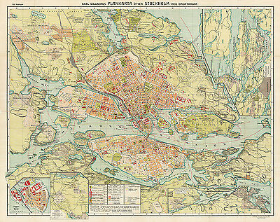 Stockholm City Map from 1913 Vintage Print Poster (Axel Gillberg)
