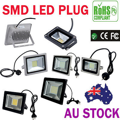 AU PLUG 10W-100W LED Outdoor Flood Light 220-240V Cool Warm White Floodlight SMD