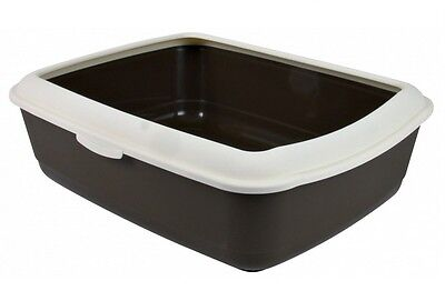 DEEP CAT LITTER TRAY With RIM 37×15×47cm LARGE Litter Tray Colours Will Vary